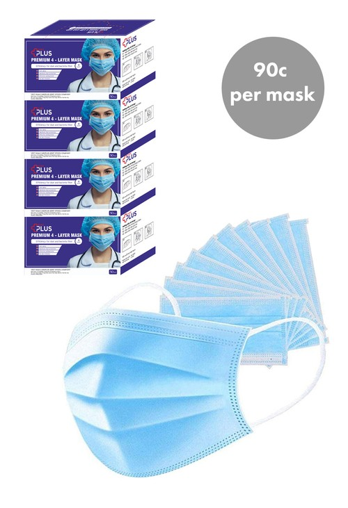 Lys DISPOSABLE FACE MASK WITH LOOPS - 200 PACK BUNDLE (4 X 50 PACK)