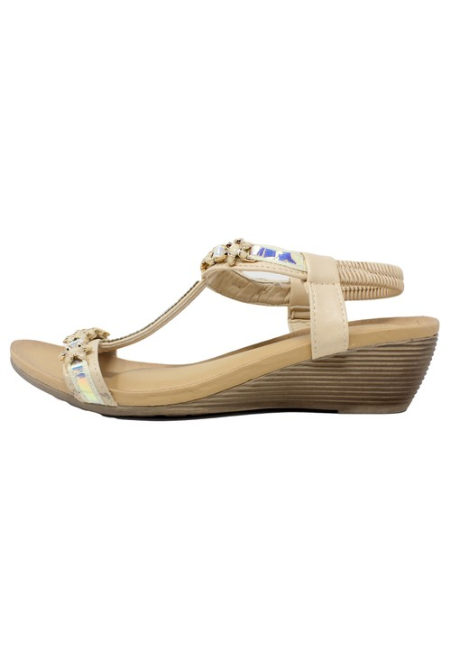 Shoe Lounge Beige Lightweight T Strap Wedge Sandal