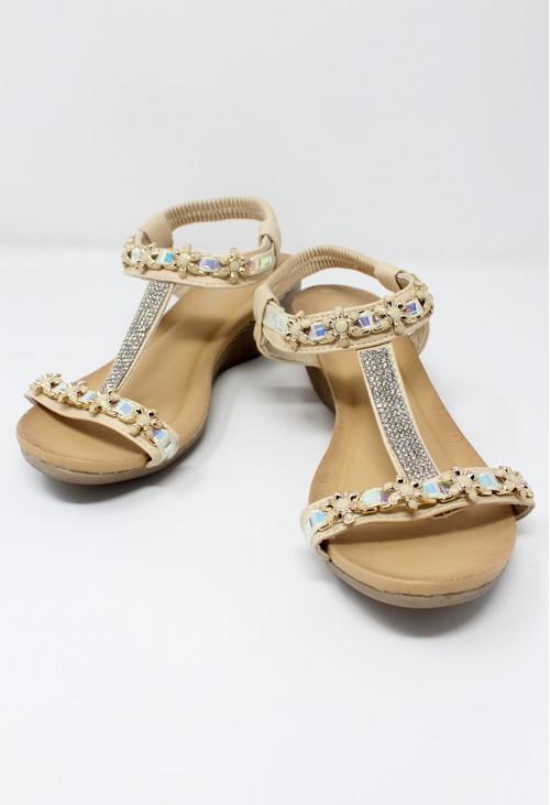 Shoe Lounge Beige Lightweight T Strap Wedge Sandal