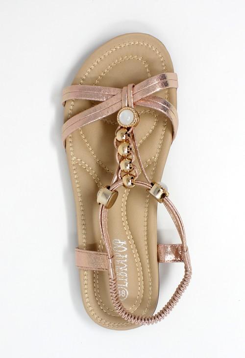 Shoe Lounge Rose Gold Lightweight T Strap Flat Sandal