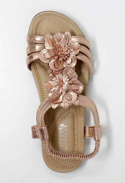Shoe Lounge Rose Gold Lightweight T Strap Flat Sandal