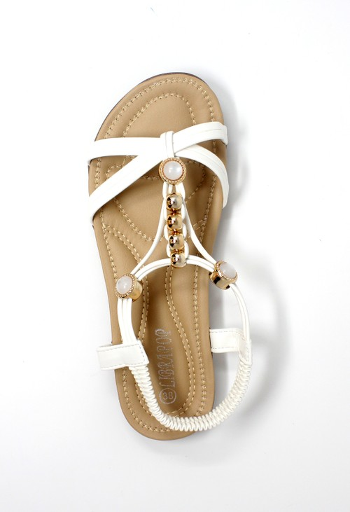 Pamela Scott White Lightweight T Strap Flat Sandal,