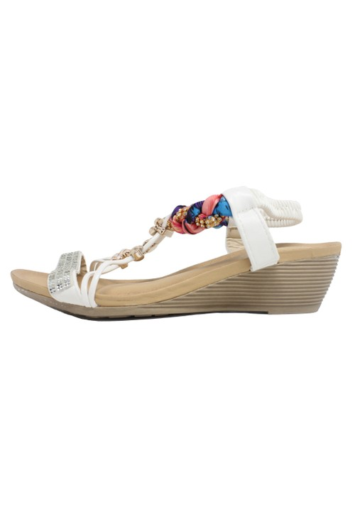 Pamela Scott White Lightweight T Strap Wedge Sandal