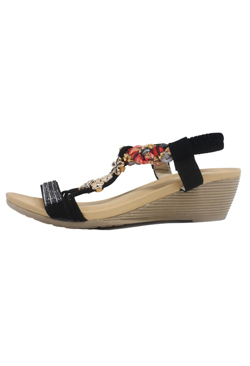 Pamela Scott Black Lightweight T Strap Wedge Sandal