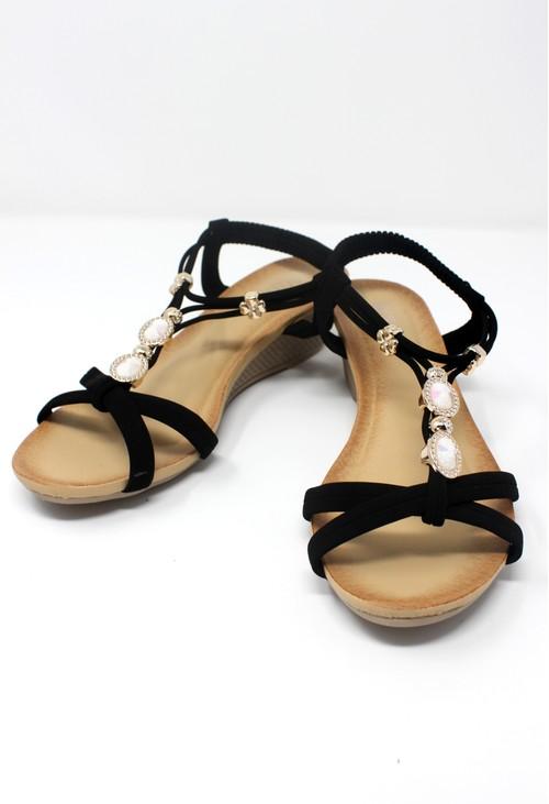 Pamela Scott Black Lightweight T Strap Wedge Sandal
