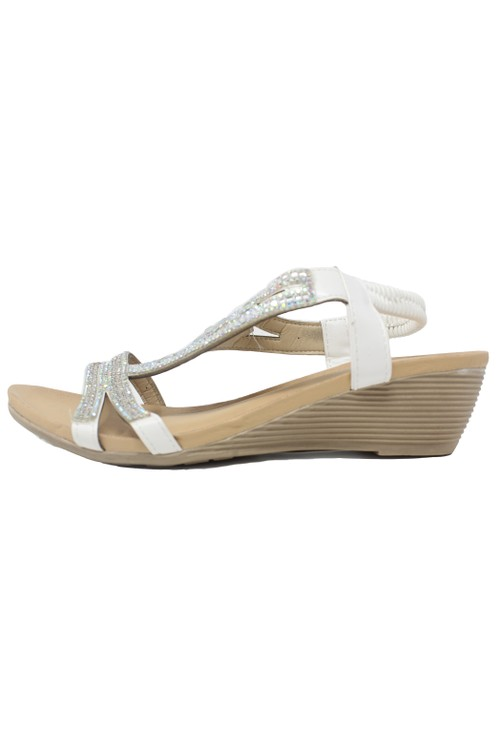 Pamela Scott White Lightweight Decorative Wedge Sandal