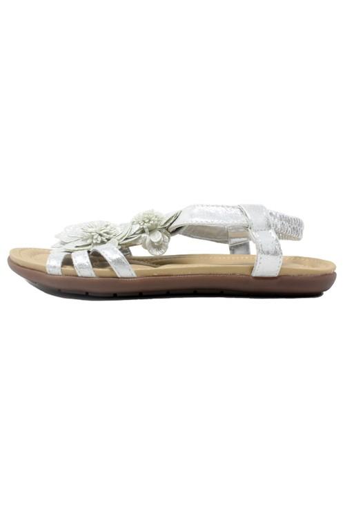 Pamela Scott Silver Lightweight T Strap Flat Sandal