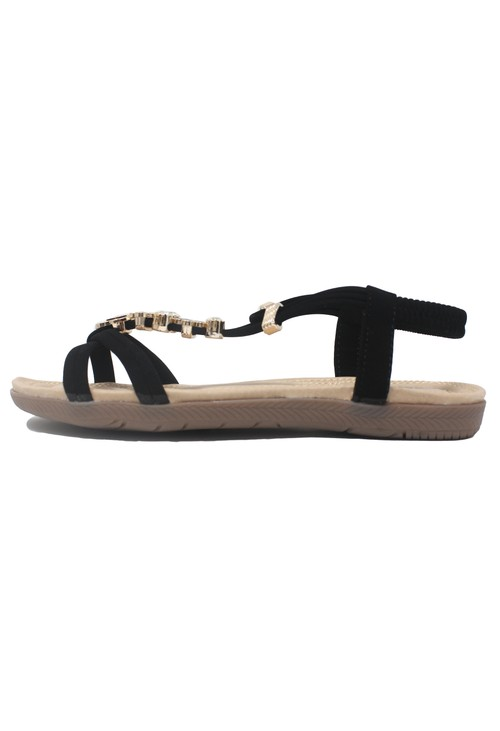 Shoe Lounge Black Lightweight T Strap Flat Sandal