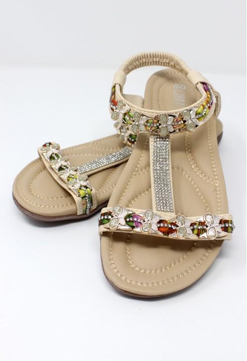 Pamela Scott Beige Lightweight T Strap Flat Sandal