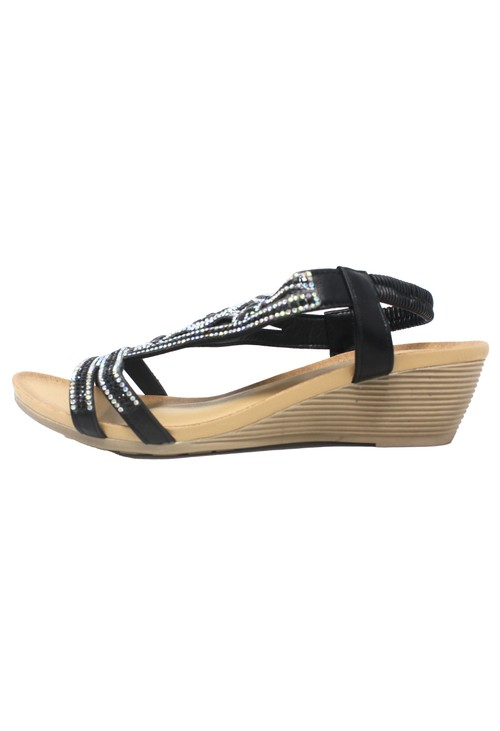 Pamela Scott Black Lightweight Decorative Wedge Sandal