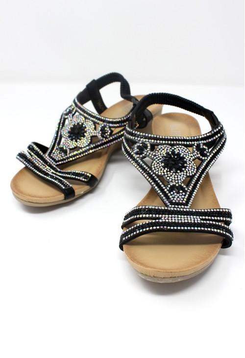 Pamela Scott Black Lightweight Decorative Wedge Sandal