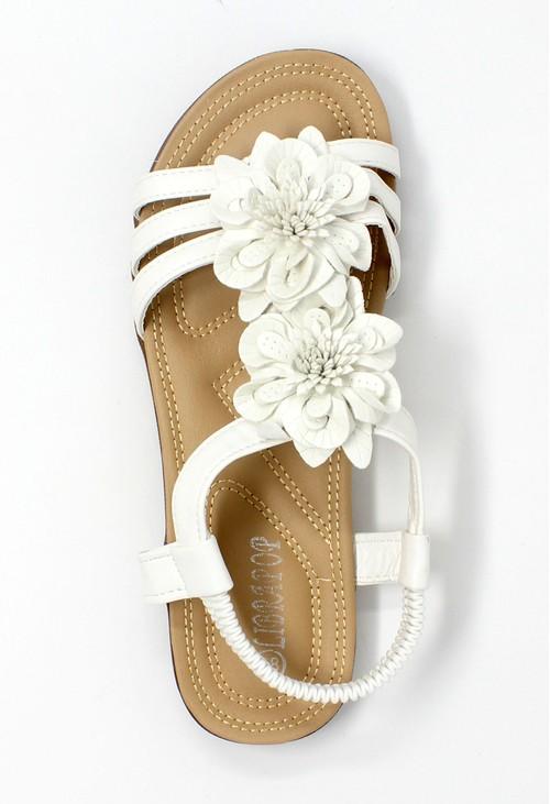Shoe Lounge White Lightweight T Strap Flat Sandal