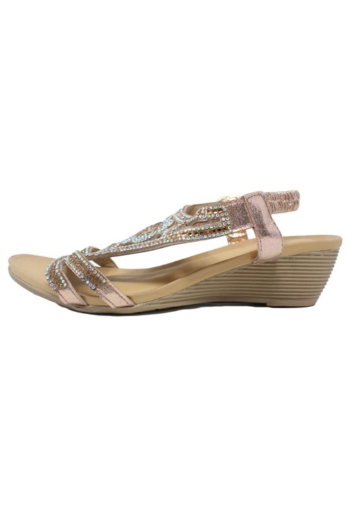 Pamela Scott Rose Gold Lightweight Decorative Wedge Sandal