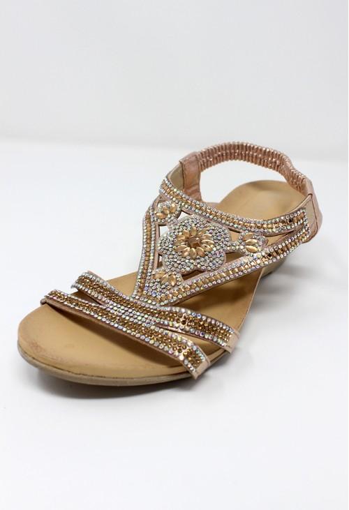 Pamela Scott Rose Gold Lightweight Decorative Wedge Sandal