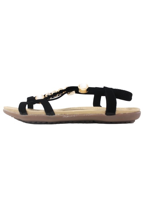 Pamela Scott Black Lightweight T Strap Flat Sandal