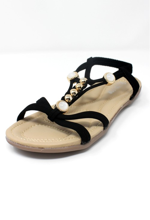 Shoe Lounge Black Lightweight T Strap Flat Sandal
