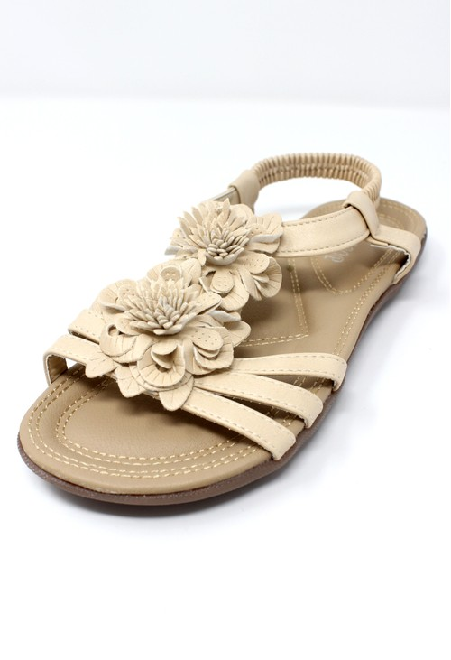 Shoe Lounge Beige Lightweight T Strap Flat Sandal