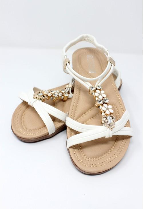 Pamela Scott White Lightweight T Strap Flat Sandal