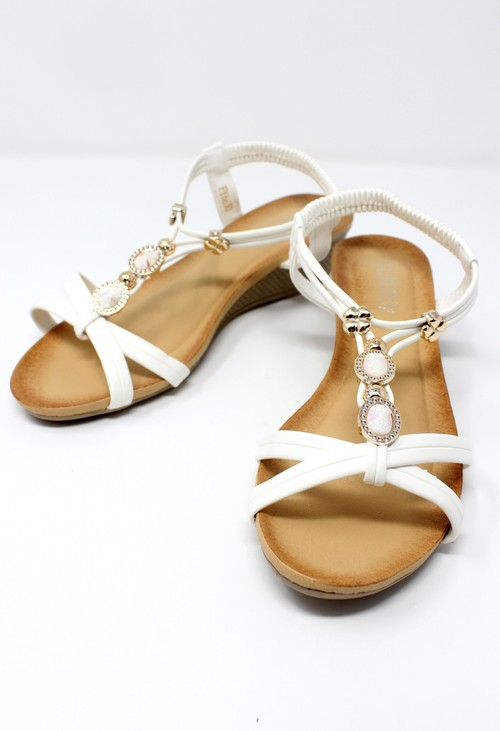 Pamela Scott White Lightweight T Strap Wedge Sandal