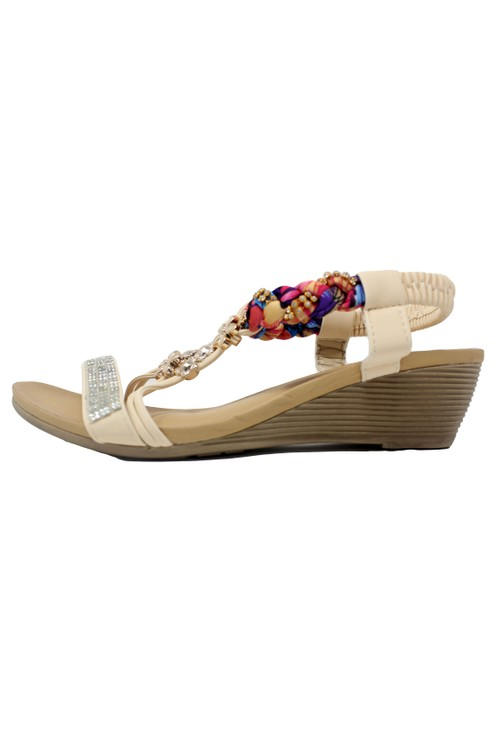 Pamela Scott Beige Lightweight T Strap Wedge Sandal