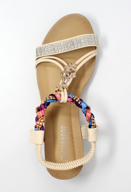 Pamela Scott Beige Lightweight T Strap Wedge Sandal