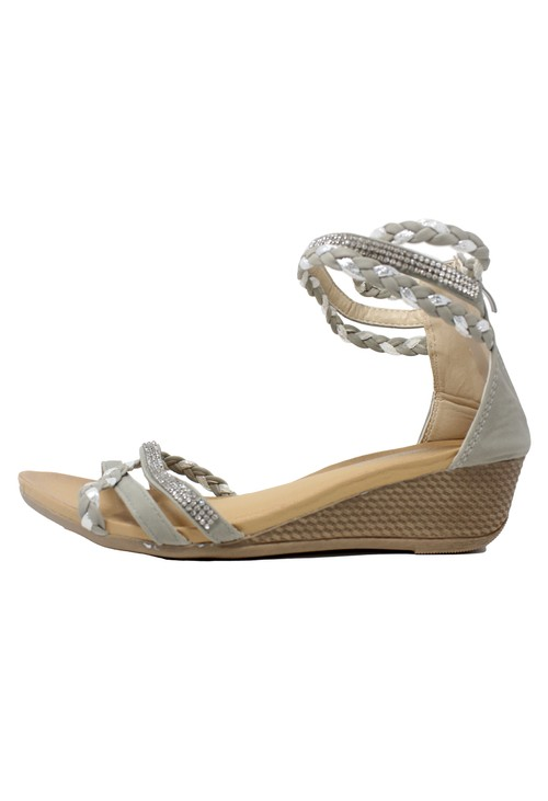 Shoe Lounge Light Grey Lightweight Ankle Strap Wedge Sandal