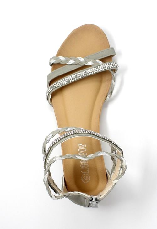 Shoe Lounge Light Grey Lightweight Ankle Strap Wedge Sandal