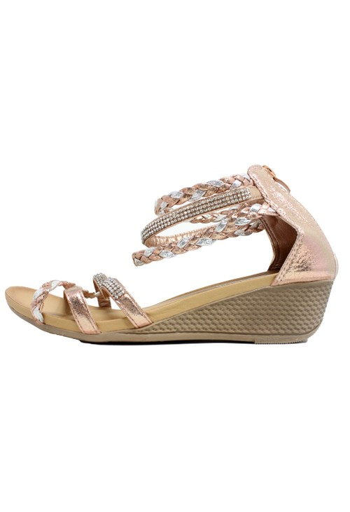 Pamela Scott Rose Gold Lightweight Ankle Strap Wedge Sandal