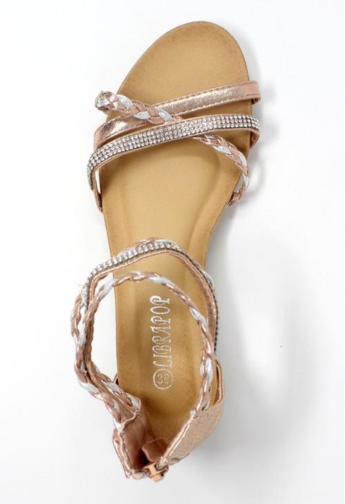 Pamela Scott Rose Gold Lightweight Ankle Strap Wedge Sandal