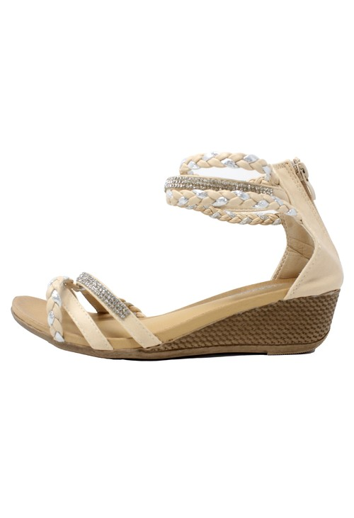 Pamela Scott Beige Lightweight Ankle Strap Wedge Sandal