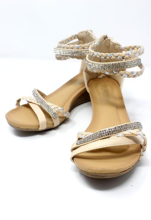 Pamela Scott Beige Lightweight Ankle Strap Wedge Sandal