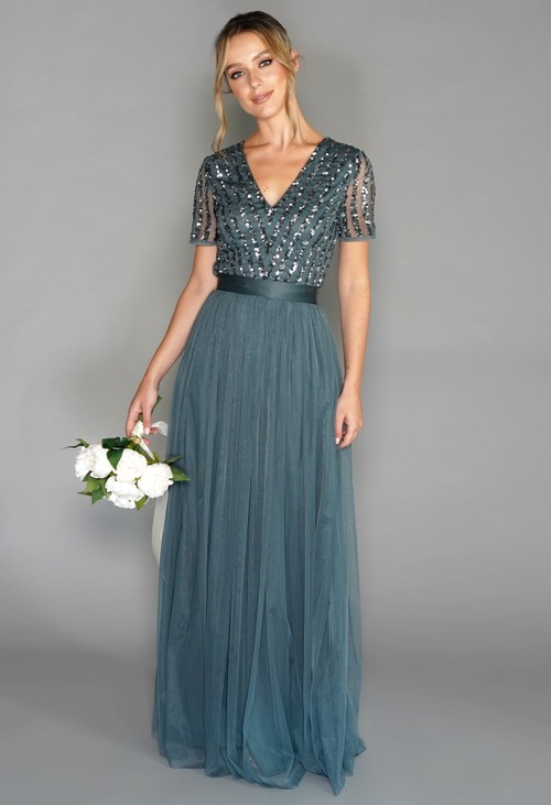 Maya Dusty Teal V NECK SEQUIN AND TULLE DRESS WITH TIE WAIST