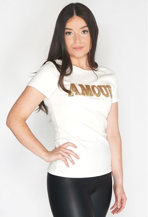 Pamela Scott Amour Sequin T Shirt