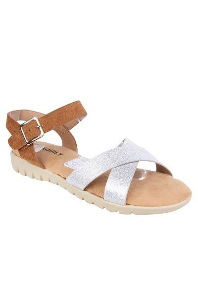 Pamela Scott Lightweight Low Wedge Tan & Silver Sandal