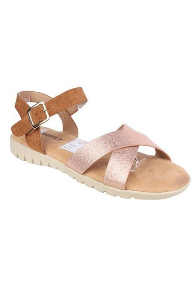 Pamela Scott Lightweight Low Wedge Tan & Champagne Sandal
