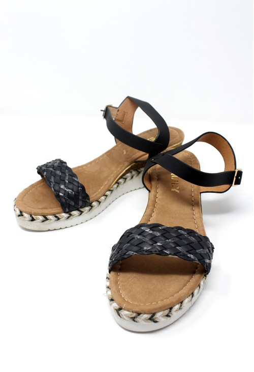 Shoe Lounge Lightweight Low Wedge Black Sandal