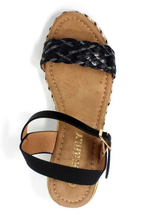 Pamela Scott Lightweight Low Wedge Black Sandal
