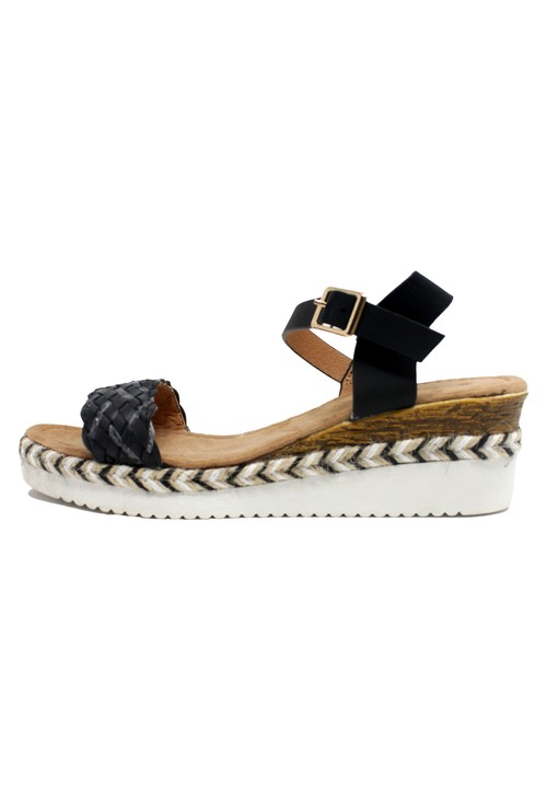 Shoe Lounge Lightweight Low Wedge Black Sandal