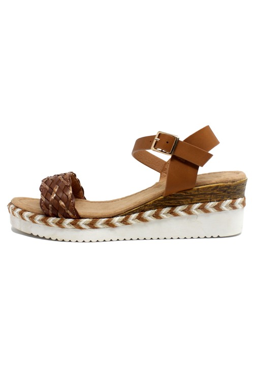 Pamela Scott Lightweight Low Wedge Brown Sandal