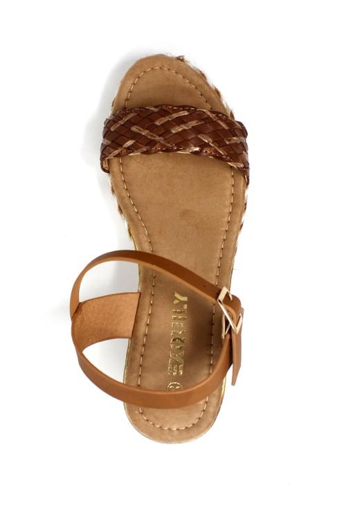 Pamela Scott Lightweight Low Wedge Brown Sandal