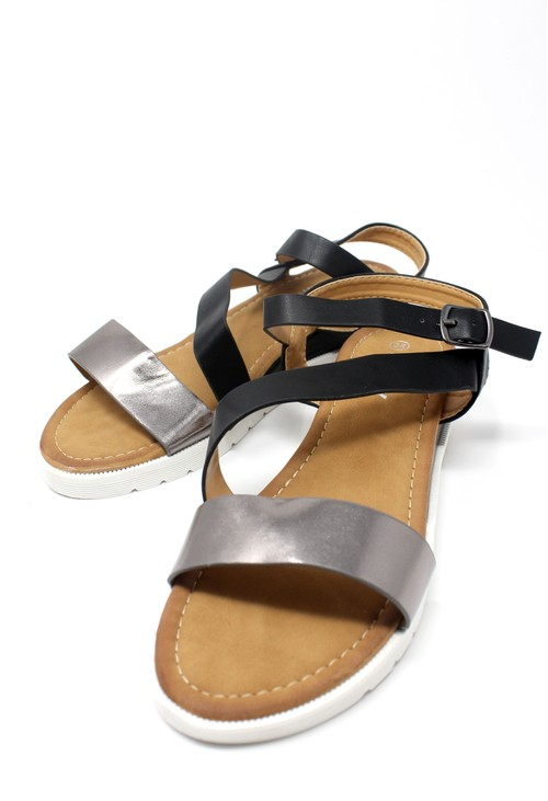 Shoe Lounge Lightweight Low Wedge Black & Pewter Sandal