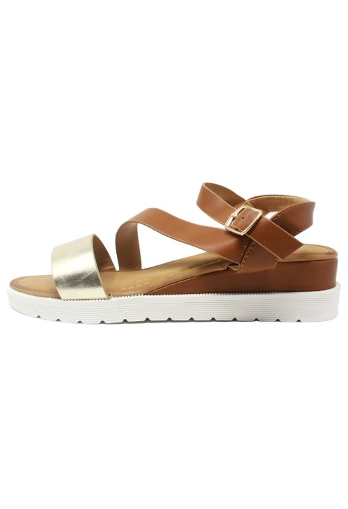 Pamela Scott Lightweight Low Wedge Tan & Gold Sandal