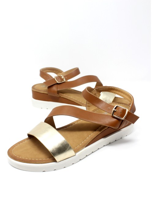 Shoe Lounge Lightweight Low Wedge Tan & Gold Sandal