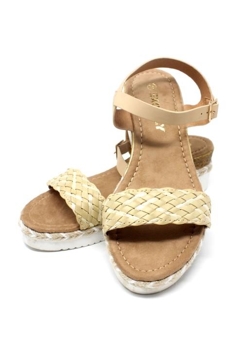 Shoe Lounge Lightweight Low Wedge Beige Sandal