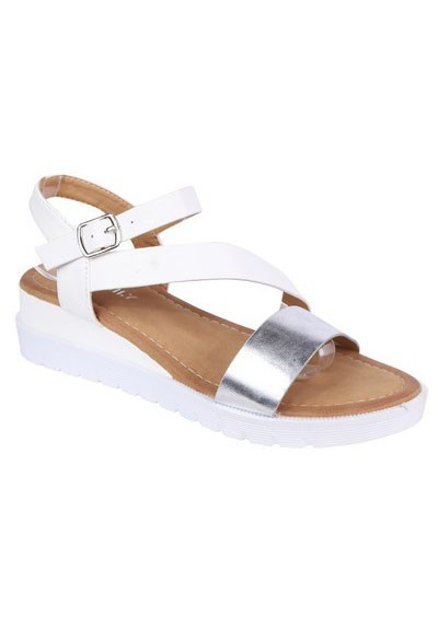 Shoe Lounge Lightweight Low Wedge White & Silver Sandal