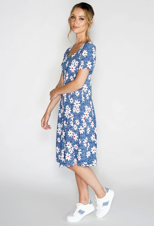 Pamela Scott Blue Daisy Print Swing Dress