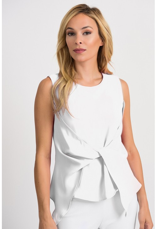 Joseph Ribkoff Vanilla Sleeveless Draped Top