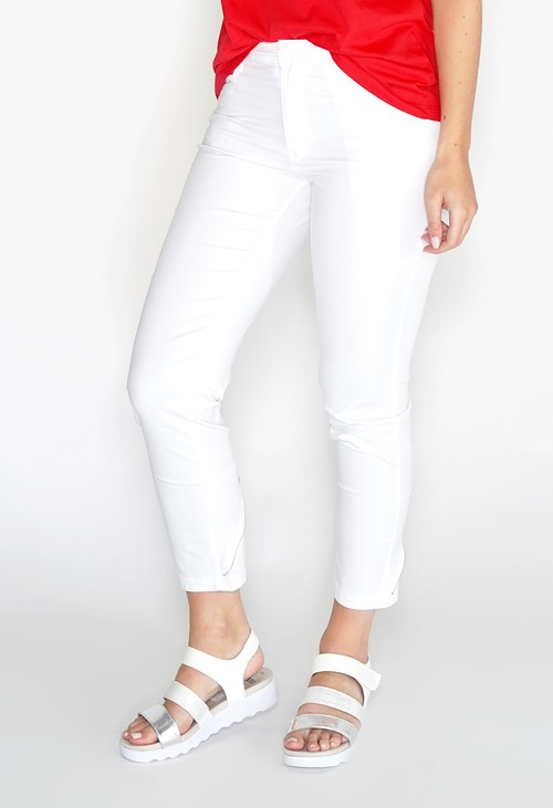 YOU YOU White Zip Detail Jeans