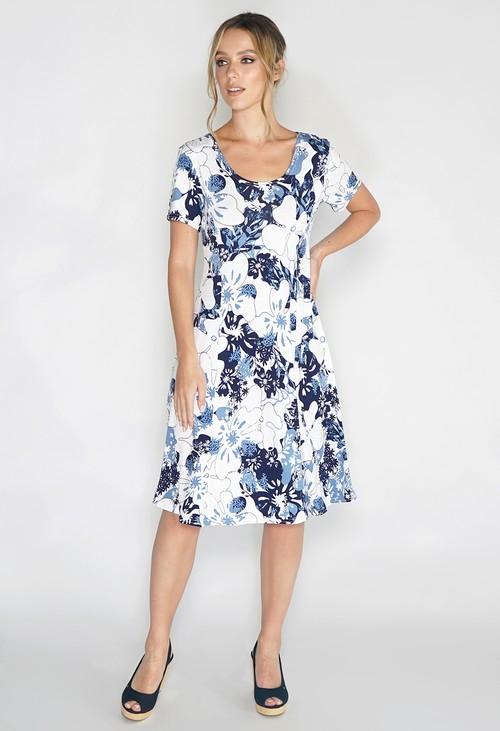 Pamela Scott Floral White Swing Dress
