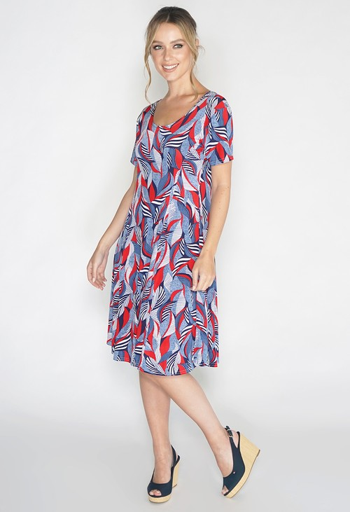 Pamela Scott Abstract Red Leaf Print Swing Dress
